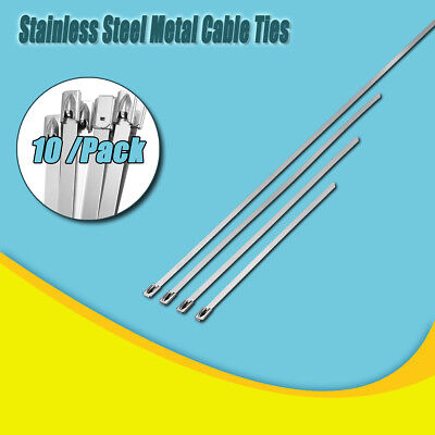 100X 304 Stainless Steel Metal Cable Zip Ties Strap Locking Exhaust Pipe Header