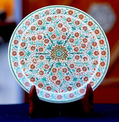 Antique White Marble Serving Plate Micro Mosaic Inlay Beautiful Art Decor H1949