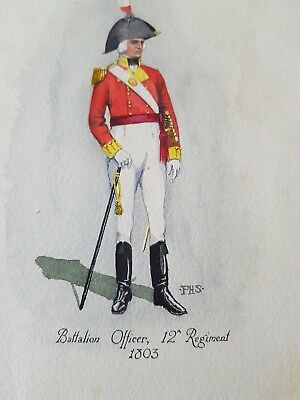 Rare original watercolour by P H Smitherman - Batallion Officer,12th Regiment