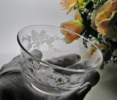 "Vintage STUART CRYSTAL ""Love Birds"" DISH Small BOWL * Signed ~ 1920s to 1950"