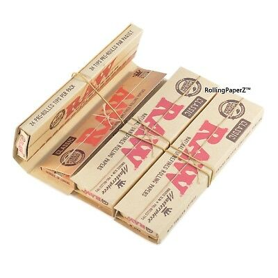 3X RAW King Size Slim Classic CONNOISSEUR Rolling Papers with Pre Rolled TIPS
