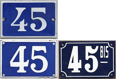 Old blue French house number 45 door gate wall street sign plate plaque