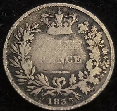 antique solid silver King William IV 1835 Sixpence