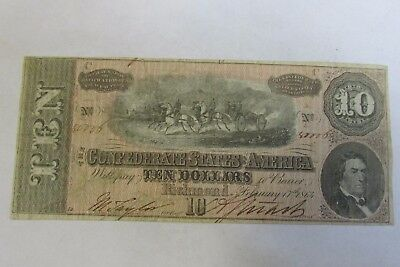 1864 $10 Dollar Bill Confederate Currency Civil War Note T-68 Richmond *E*-Q4