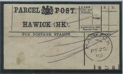 GB 1905 Hawick Parcel Post Receipt with CDS