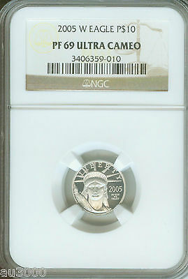 2005-W $10 PLATINUM EAGLE 1/10 Oz. STATUE OF LIBERTY NGC PR69 PROOF PF69 PR-69