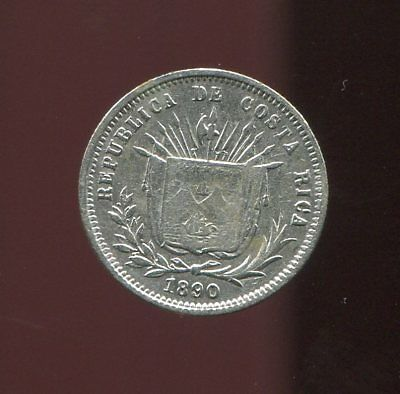 ** COSTA RICA 1890 (Heaton) 5 CENTS SILVER .....LOW MINTED 431 K. **