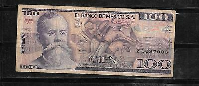 Mexico Mexican ##74C 1982 100 Peso Good Circ Banknote Paper Money Currency Note