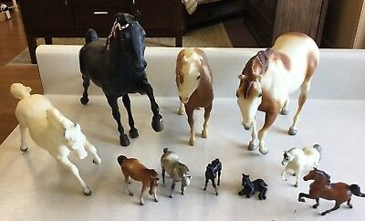 Lot of 10 Vintage Breyer Toy Horses from 1970's 4 Large 6 Small