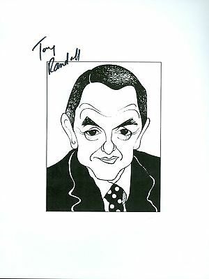 TONY RANDALL, RIP - Mr Peepers, The Odd Couple Signed 8.5x11 Cartoon Autograph