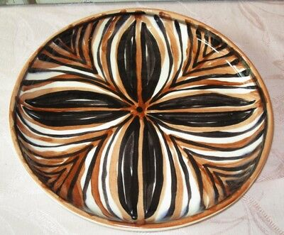 """Vintage 1973 HAWAII STUDIO POTTERY CAKE PLATE Dated SIGNED by LEE Large 10"""" Bowl"""