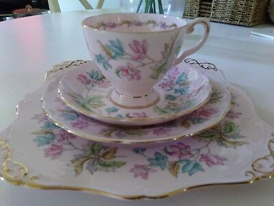 Beautiful Tuscan Pink 4 Piece Set-Cake Plate,Cup, Saucer & Side Plate