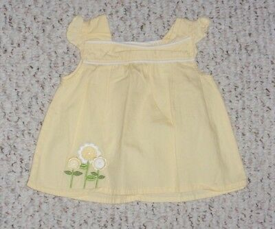 Yellow Gymboree S/S Top w/ Daisies, Sunny Days Ahead Layette, 3-6 months, VGUC
