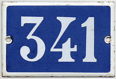 Old blue French house number 341 door gate plate plaque enamel steel metal sign
