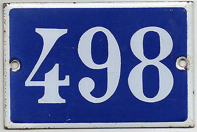Old blue French house number 498 door gate plate plaque enamel steel metal sign