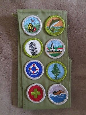 Boy Scout Merit Badge Sash with 9 Merit Badges circa 1970's
