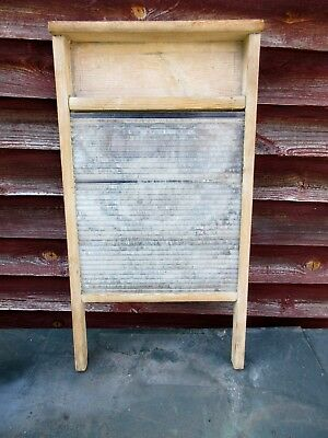 Vintage Glass/wood Washboard Laundry Circa 1950's Collectable Prop Kitchenalia