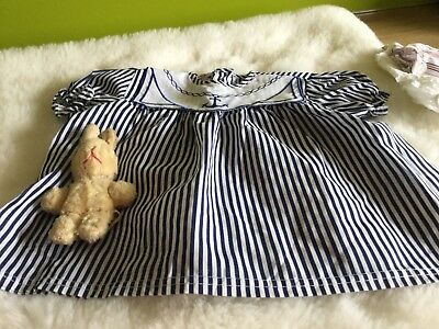 Authentic Vintage Baby infants Girls Childrens  Dress unused 70s 3 m white/navy