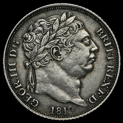 1819 George III Milled Silver Sixpence, Scarce, G/EF