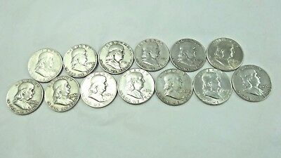 Lot of 13 Franklin Half Dollar Coins Mixed 1949 -1963