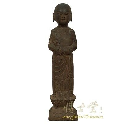 Chinese Antique Stone Buddhist Monk Lohan Statue 28X20