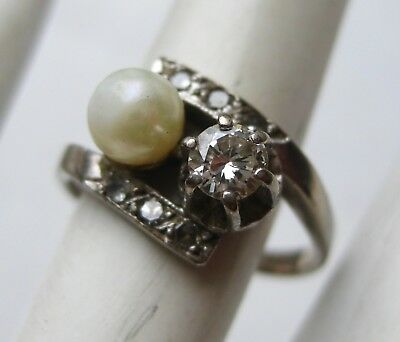 Fine Antique 14k White Gold .25ct Diamond Pearl Vintage Art Deco Ring 3.7g