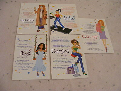 5 Persil Postcards Signs of Zodiac Aquarius Cancer Aries Pisces Gemini