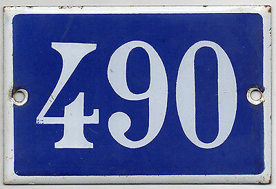 Old blue French house number 490 door gate plate plaque enamel steel metal sign
