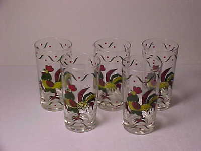 """5 Metlox Provencial Rooster 5 1/8"""" Glass Tumblers Signed Gay Fad NICE"""