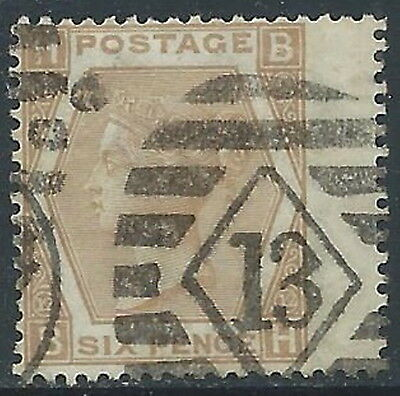 1872-73 GREAT BRITAIN USED SG 123 6d PLATE 12 (BH)