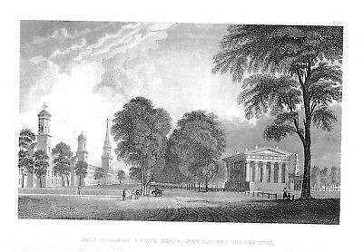 1840 Yale College State House Newhaven Connecticut Original Stahlstich engraving