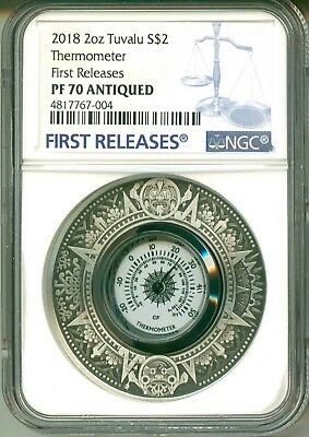 2018 Tuvalu S$2 Thermometer 2 Oz. Silver First Release NGC PF70 Antiqued BOX OGP
