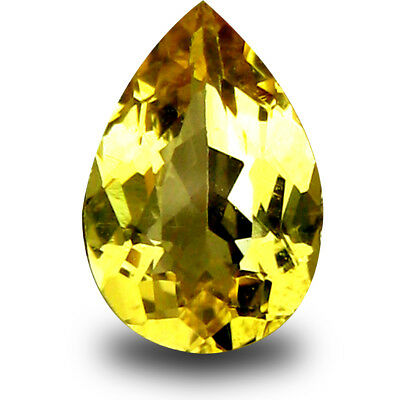 0.70 ct AAA Tremendous Pear Shape (8 x 5mm) Yellow Heliodor Beryl Loose Gemstone