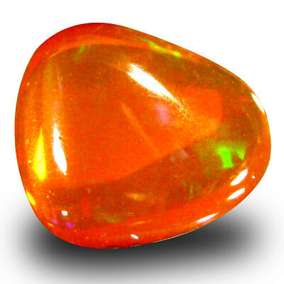 1.84 ct Fancy Cabochon (9 x 8 mm) Flashing Orange Fire Opal Loose Gemstone