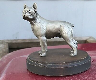 Solid Pewter Standing Male Boston Terrier Dog on Wood Base