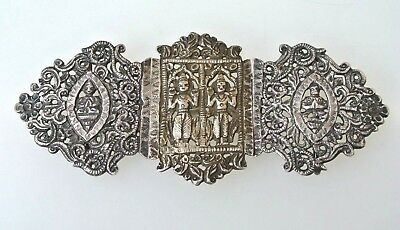 Antique Chinese Straits  Peranakan 900 Fine Silver Hinged Belt Buckle