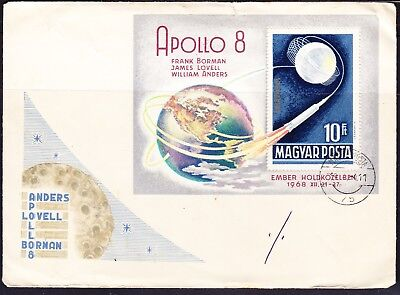 Hungary 1968 10f Apollo 8 Miniature Sheet First Day Cover to Australia + Back