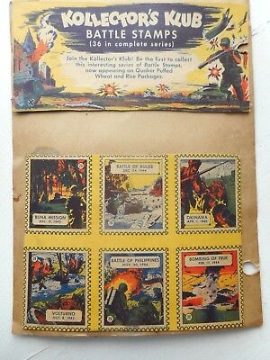 Cereal Promotion  Battle Stamps 1944 1945 Six War Stamps Quaker Puffed Wheat