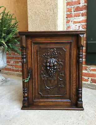 Antique English Carved Oak Wall Hanging Cabinet Grapes Renaissance Victorian