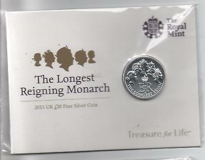 £20.00 Fine Silver Coin dated 2015 -  The Longest Reigning Monarch