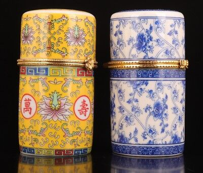 2 Porcelain toothpick box painting flower crafts retro decoration