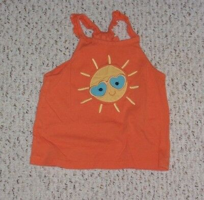 Orange Gymboree Tank Top w/ Smiling Sun, Tropical Bloom, Size 5T, VGUC