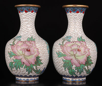 2 Old Cloisonne enamel Vase Hand Made Peony Royal Collection rare