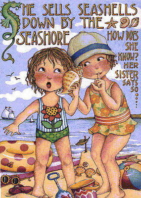 SHE SELLS SEASHELLS-Handcrafted Beach Fridge Magnet-Using art by Mary Engelbreit