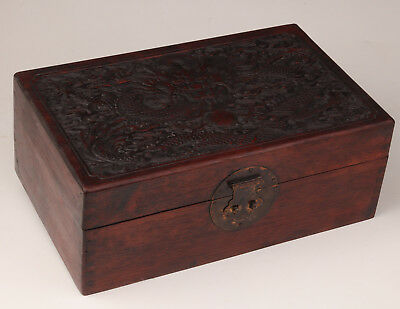 Qing Dynasty Authentic Old Rare Ornaments Box Wood Carving Dragon
