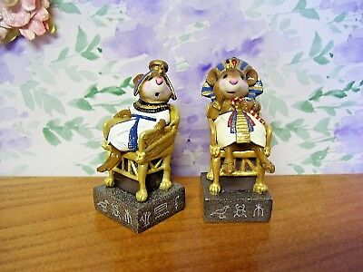 WEE FOREST FOLK Tutmouse's Egyptian Chess Set ~ Pharaoh & Queen in Blue ~ BOXES!