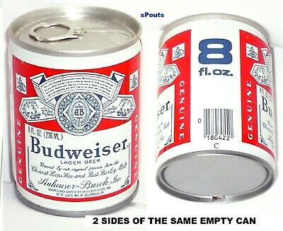 8oz OHIO BUDWEISER LAGER BEER CAN ANHEUSER-BUSCH COLUMBUS,OH.BUD of MISSOURI MO