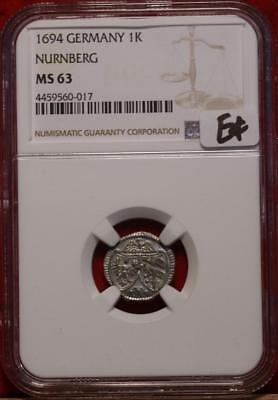 1694 Germany 1K Nurnberg NGC Graded MS 63 Silver Foreign Coin