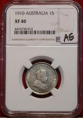 1910 Australia Shilling Silver Coin NGC Graded XF 40