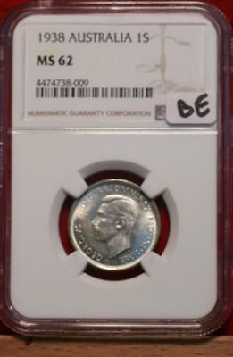 1938 Australia Shilling Silver Coin NGC Graded MS 62
